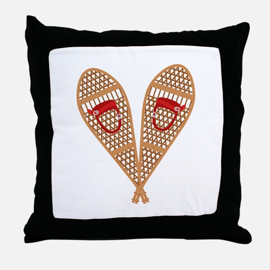 Vintage Snowshoes Throw Pillow