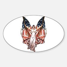 Vintage American Flag Art Oval Decal