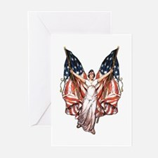 Vintage American Flag Art Greeting Cards (Package