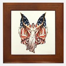 Vintage American Flag Art Framed Tile