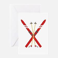 Vintage Ski Poles Greeting Cards