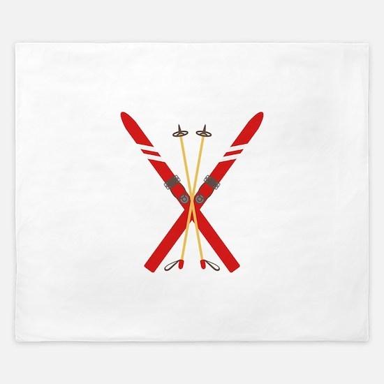 Vintage Ski Poles King Duvet