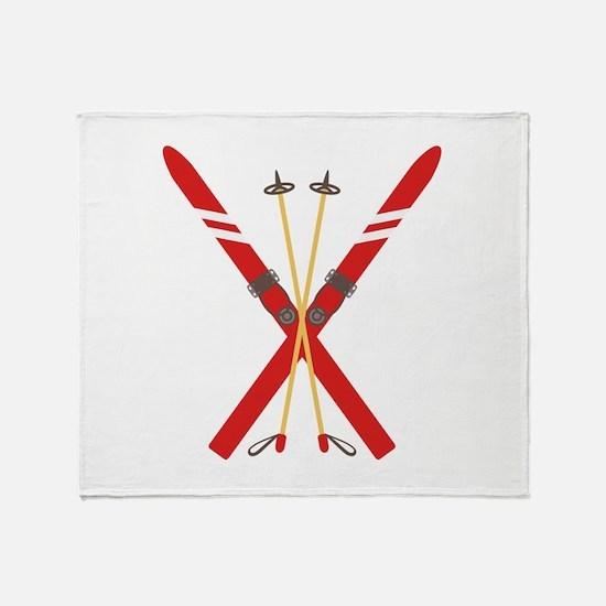 Vintage Ski Poles Throw Blanket