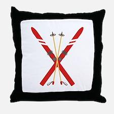Vintage Ski Poles Throw Pillow