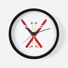 Vintage Ski Poles Wall Clock