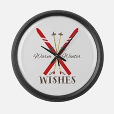 Warm Winter Wishes Large Wall Clock