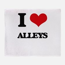 I Love Alleys Throw Blanket