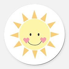 Happy Sun Round Car Magnet