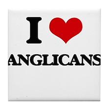 I Love Anglicans Tile Coaster