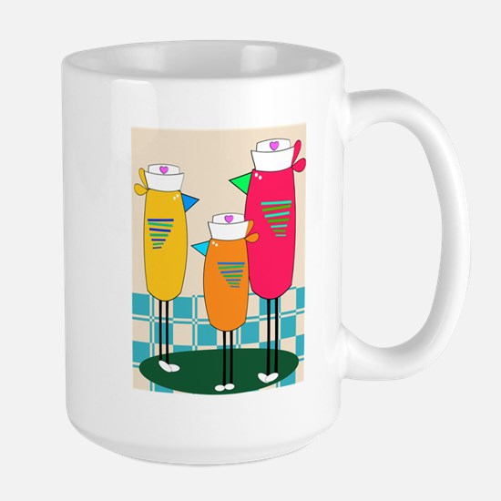 Whimsical Nurse Birds Mugs
