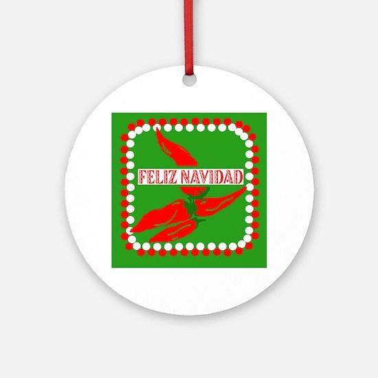 Feliz Navidad Peppers Ornament (Round)