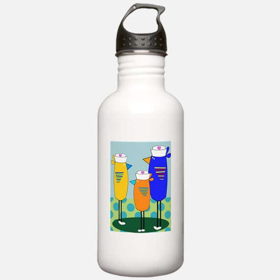 Whimsical Nurse Birds Water Bottle