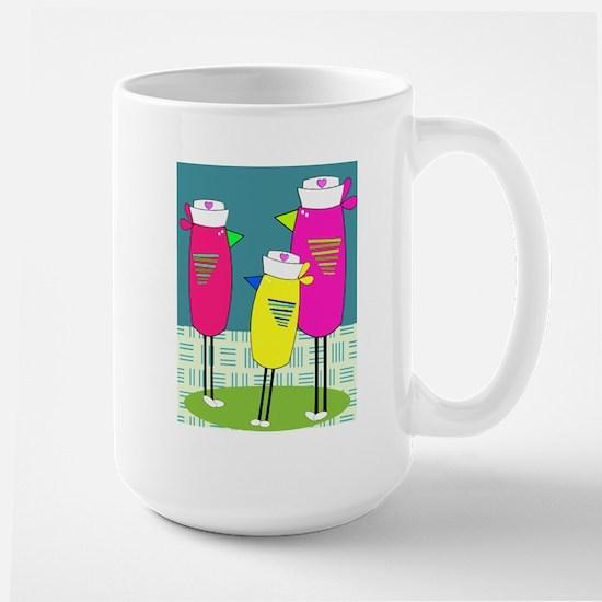 Whimsical Nurse Birds Mugs