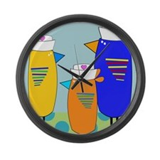 Whimsical Nurse Birds Large Wall Clock