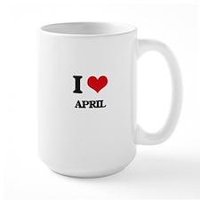 I Love April Mugs