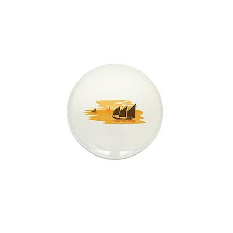 Orange Sunset Ocean Bay Sail boat Mini Button (100