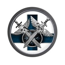 Swords w/Crest Blue Wall Clock