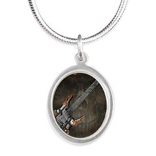 Celtic Warrior Guitar by Blue Silver Oval Necklace