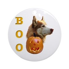Husky(red) Boo Ornament (Round)