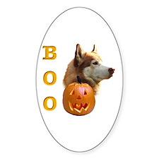 Husky(red) Boo Oval Decal