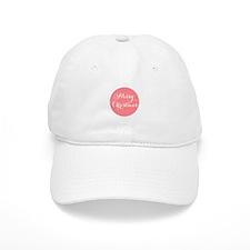 Merry Christmas coral dot Baseball Cap