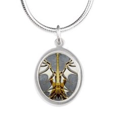 Dark Angel Heavy Guitar by Bl Silver Oval Necklace