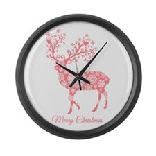 Coral Christmas deer Large Wall Clock