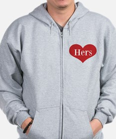 His and Hers red heart Zip Hoodie