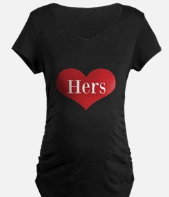 His and Hers red heart Maternity T-Shirt
