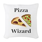 Pizza Wizard Woven Throw Pillow