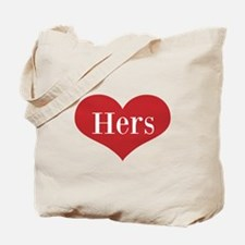 His and Hers red heart Tote Bag