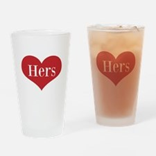 His and Hers red heart Drinking Glass