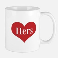 His And Hers Red Heart Mugs For Couple