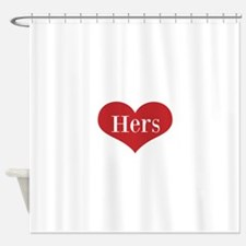 His and Hers red heart Shower Curtain