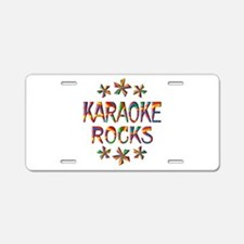 Karaoke Rocks Aluminum License Plate