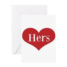 His and Hers red heart Greeting Cards