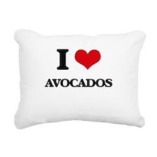 I Love Avocados Rectangular Canvas Pillow