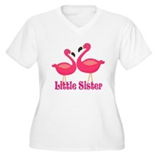 Little Sister Pink Flamingoes Plus Size T-Shirt