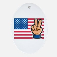 USA Peace Flag Oval Ornament