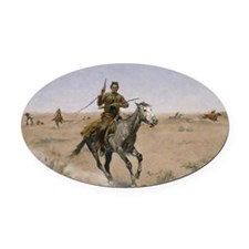 Frederick Remington The Flight Oval Car Magnet