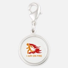 I Am On Fire Silver Round Charm