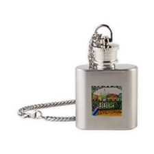 French Quarter Street Tile. Flask Necklace
