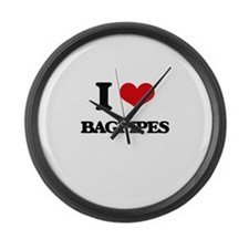 I Love Bagpipes Large Wall Clock