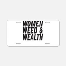 Women Weed & Wealth Aluminum License Plate