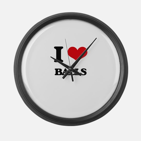 I Love Balls Large Wall Clock