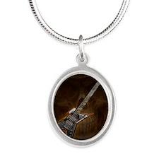 Death Bass Skull by Bluesax Silver Oval Necklace