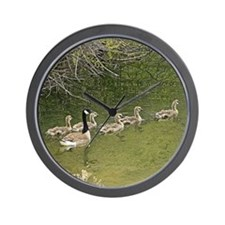 Old window canadian geese Wall Clock