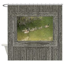 Old window canadian geese Shower Curtain