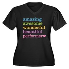 Awesome Perf Women's Plus Size V-Neck Dark T-Shirt