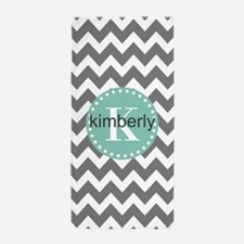 Gray and Aqua Modern Chevron Monogram Beach Towel